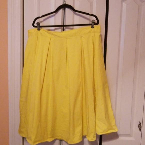 822595b289b Eloquii Dresses   Skirts - Yellow pleated midi skirt